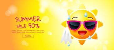 Vente d'été, bande dessinée, visage du soleil, conception de disposition, carte de voeux, c Photo stock
