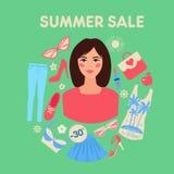 Vente d'été d'achats dans la conception plate avec la femme illustration de vecteur