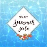 Vente d'été de lettrage sur le fond de l'eau Images stock