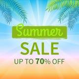 Vente d'été jusqu'à l'affiche de promotion de 70 pour cent Photo stock