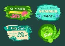 Vente -20 d'été outre de grand ensemble d'offre de la remise -45 illustration stock