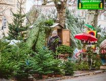 Vente d'arbre de Noël au marché d'agriculteur à Strasbourg central Images libres de droits