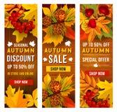 Vente d'automne et ensemble de calibre de bannière de prix discount Photographie stock