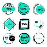 Vente d'ensemble de labels, remises méga, vendredi noir, 10%, 25%, 50%, 70%, 80%, 90% Images libres de droits