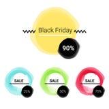 Vente d'ensemble de labels, remises méga, vendredi noir, 10%, 25%, 50%, 70%, 80%, 90% Photo libre de droits