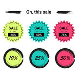 Vente d'ensemble de labels, remises méga, vendredi noir, 10%, 25%, 50%, 70%, 80%, 90% Photographie stock