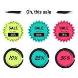 Vente d'ensemble de labels, remises méga, vendredi noir, 10%, 25%, 50%, 70%, 80%, 90% Photographie stock
