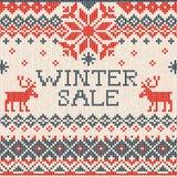 Vente d'hiver : Modèle tricoté sans couture de style scandinave avec le De Photo stock