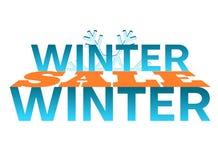 Vente d'hiver - mot dans une vente bleue de snowflakeWinter - mot 3D entre les mots illustration de vecteur
