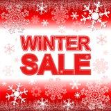 Vente d'hiver sur le fond rouge lumineux avec des flocons de neige Photographie stock libre de droits