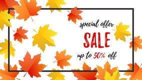 Vente d'offre spéciale d'affiche de typographie d'automne avec les feuilles colorées illustration libre de droits