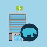 Vente d'ours de finances d'édifice bancaire Photos libres de droits