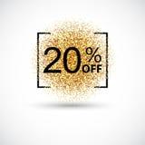 Vente d'or 20 pour cent sur le fond d'or Image stock