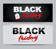 Vente de Black Friday de bannières Images libres de droits