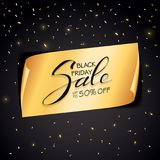 Vente de Black Friday sur la bannière et les confettis d'or sur le backgro noir illustration de vecteur