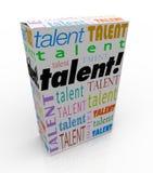 Vente de boîte de produit de Word de talent votre commercialisation de qualifications Photographie stock