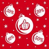 Vente de boules de Noël Vente du ` s de Noël et de nouvelle année Bannière ou affiche pour la remise de achat de magasin illustration libre de droits