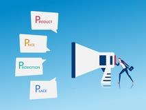 Vente de Digital et concept de la publicité Homme d'affaires utilisant le mégaphone disant le marketing en ligne Photographie stock