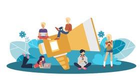 Vente de Digital et concept de la publicité Illustration plate de vecteur illustration libre de droits