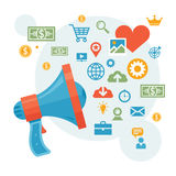 Vente de Digital et publicité - illustration de vecteur de concept de haut-parleur Images stock