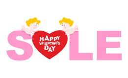 Vente de jour de valentines Cupidon tenant un coeur Remises à faire des emplettes du Images libres de droits
