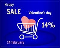 Vente de jour du ` s de Valentine Caddie avec le coeur sur un fond bleu Chariot sur des roues Photo libre de droits