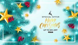 Vente de Joyeux Noël Fond universel de vecteur avec les branches, la sorbe, les étoiles et la serpentine de sapin Approprié à illustration libre de droits
