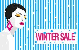 Vente de l'hiver drapeau Fille de mode Style audacieux et minimal Art de bruit illustration libre de droits