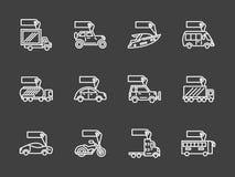 Vente de la ligne blanche icônes de transport réglées Images stock