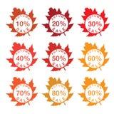 vente de label avec des feuilles d'automne Photos libres de droits