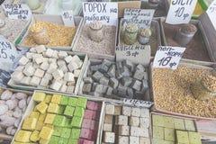 Vente de marché d'épices en Ukraine Les prix à payer sur chaque produit photo libre de droits