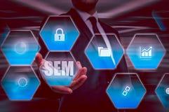 Vente de moteur de SEM-recherche Concept de stratégie commerciale Photos libres de droits