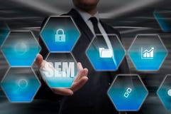 Vente de moteur de SEM-recherche Concept de stratégie commerciale Images libres de droits