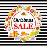 Vente de Noël Affiche, bannière avec des autocollants Type de dessin animé illustration de vecteur