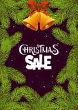 Vente de Noël avec des branches sur le fond noir photographie stock