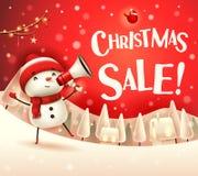 Vente de Noël ! Bonhomme de neige gai avec le mégaphone dans le paysage d'hiver de scène de neige de Noël illustration stock
