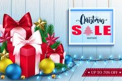 vente de Noël 3D à l'intérieur d'un cadre dans la bannière en bois de fond Image libre de droits