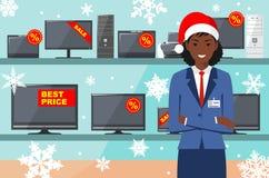 Vente de Noël et d'an neuf Directeur, vendeur dans le chapeau de Santa Claus dans le magasin sur le fond des étagères avec Images libres de droits