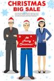 Vente de Noël et de nouvelle année grande Illustration détaillée de prise de vendeur la boîte dans les mains, la femme d'affaires Photographie stock