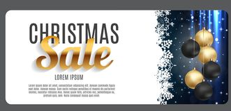 Vente de Noël, fond de bannière de bon de remise Carte de remise d'affaires Illustration de vecteur Photographie stock libre de droits