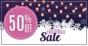 Vente de Noël, fond de bannière de bon de remise Photo stock