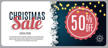 Vente de Noël, fond de bannière de bon de remise Photographie stock libre de droits