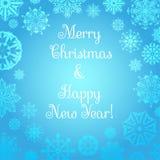Vente de Noël Fond de Noël et de nouvelle année Flocons de neige sur un fond bleu Images stock