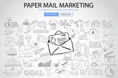 Vente de papier d'email avec le style de conception de griffonnage illustration de vecteur