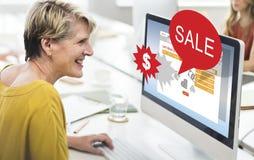 Vente de remise de commerce de vente vendant le concept de promotion images stock