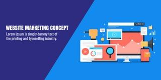 Vente de site Web, la publicité numérique, media social, promotion satisfaite, campagne d'email, données, concept d'analytics Ban Photo libre de droits