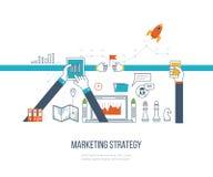 Vente de stratégie marketing et de contenu Gestion de portefeuille Ligne mince conception Photographie stock libre de droits