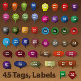 Vente des insignes, étiquettes, étiquettes Photo libre de droits