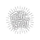 Vente dotworking de Black Friday - les autocollants, insignes, a écrit des outils de calligraphie et modifié aux formes simples Photo stock