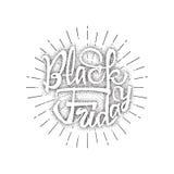 Vente dotworking de Black Friday - les autocollants, insignes, a écrit des outils de calligraphie et modifié aux formes simples Photos stock